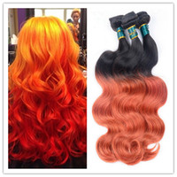 Wholesale Orange Hair Weave - 2016 new 8A ombre 1b orange two tone Peruvian Virgin Remy Human colored Hair Extensions Body Wave hair weave 3Bundles Weaving Free Shipping