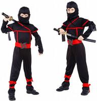 ropa japonesa niños al por mayor-Anime japonés disfraces de Halloween para niños trajes de Naruto Cosplay para niños Ninja Masquerade traje de ropa