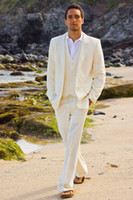 Wholesale Groomsmen Beach Wedding - Ivory Beach Wedding Mens Suits Custom Made Handsome Groom Tuxedos Two Buttons Groomsmen Suits Casual Prom Suits (Jackt+Pants+Vest+Tie)