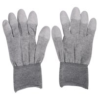 Wholesale Static Finger - Wholesale-M-L Size Gray ESD Safe Anti-static Anti-skid PU Finger Top Coated Work Gloves for Electronic Repair Tools