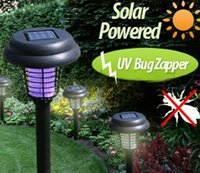 Wholesale 2015 Solar lawn lamp Yard Stake Decor led Mosquito killing lamp garden outdoor lamp Purple or white Garden Decoration light D320M