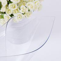 tela blanca transparente al por mayor-PVC Suave Vidrio Anti Resistente Al Agua PVC Mantel Mesa Estera de la Tabla Esteras Transparentes Desechables Tabla Paño Pano Decoración Del Hogar Toalha de Mesa