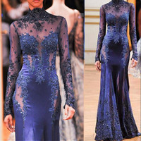 Wholesale see through dresses zuhair murad - 2018 Zuhair Murad High Neck Lace Formal Evening Dresses Long Sleeve See-through Beads Appliques Prom Celebrity Gowns Custom Navy Blue