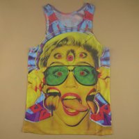 Wholesale Vest Top Sexy - Alisister new fashion Sexy women Miley Cyrus tank tops printed 3d characters Vest hip hop sleeveless top funny Eye Clothing FG1510