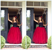 Wholesale Beautiful Maternity Wear - Beautiful Red Tutu Skirt For Girls 2016 Long Tutu Skirt With Black Ribbon Waist Tulle Skirt Weddings And Formal Wear Flower Girl Dress