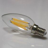 Wholesale E14 Candle 5w Dimmable - NEW filament led bulb E14 E12 5W dimmable chandelier LED candle lamp Warm  Cool White Light AC110V 120V 220V 230V 240V candle Light bulbs