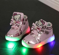 Wholesale Child Patent Boots - Children Casual Shoes new LED Lights Female Male Child Sport Shoes Rhinestone Spring And Autumn Baby Sneakers hight quality Free Shipping