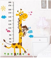 Wholesale Baby Nursery Monkey - New Giraffe Height Chart Wall Stickers Nursery Baby Monkey Animal Decor Removable Vinyl beautiful Decals 2sets