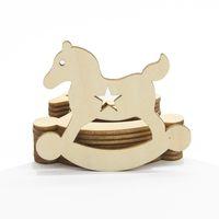 Wholesale Laser Cut Wood Box - Wood Art Crafts Laser Cut Wooden Favors Baby Shower Decor Infant Clothes Feet Cartoon Bear Feeder Bottle Shape Toy Gifts