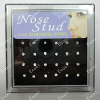 Wholesale Surgical Jewelry Rings - 24Pcs 1Set Wholesale 316L Nose Rings Surgical Steel Crystal Nose Studs For Women Jewelry Bulk Lots LR225