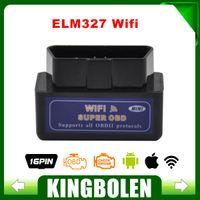 Wholesale Auto Diagnostic Tools Iphone - Wholesale-New Blue Mini WiFi ELM327 OBD2 Car Auto Diagnostic Scan Tool Mini ELM 327 Wifi For iPhone For iPad For iPod Android