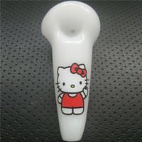 kitty pipe großhandel-Mundgeblasene schöne Ölpfeifen weißer Löffel Pfeifen Hello Kitty 4