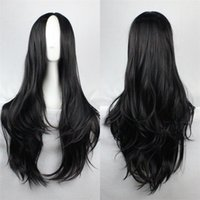 Wholesale Blonde Curly Cosplay Wigs - Byakuya Kuchiki wig orochimarul long hair carve bangs synthetic wigs Long Black blonde wig Cosplay Party Curly Wigs+Free hairnet