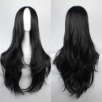 Wholesale Long Black Curly Cosplay Wig - Byakuya Kuchiki wig orochimarul long hair carve bangs synthetic wigs Long Black blonde wig Cosplay Party Curly Wigs+Free hairnet