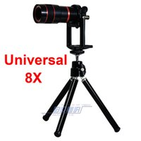 Wholesale Zoom Lens For Digital Camera - Universal 8x Zoom Phone Lens Optical Digital Camera Telescope Monocular with Adjusted Clip Holder and tripod For iPhone 4 4S 5 5S 5C 6 6plus