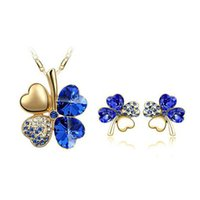 Wholesale Gold Leaf Clover Necklaces - Popular Earring Necklace Sets for Women Designer Jewelry Four-leaf Clover Design Wedding Necklace and Earring Set 9554