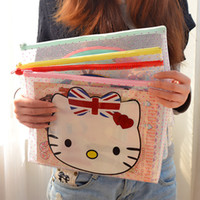 Wholesale Cute A4 Files - Wholesale-2333A cute cartoon creative zipper bag A4 paper bag transparent file pocket