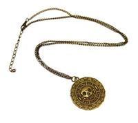 ожерелья карибы оптовых-Бесплатный DHL пиратский кулон ожерелье свитер цепи ожерелье карибский американский ретро круглый череп ожерелья капитан джек бронзовые украшения ZJ-N17