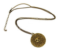 Wholesale caribbean necklaces resale online - Free DHL Pirate Pendant Necklace Sweater Chain Necklace Caribbean American Retro Round Skull Necklaces Captain Jack Bronze Jewelry ZJ N17