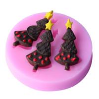Wholesale Silicone Soap Molds Trees - Wholesale- Christmas trees Shape Fondant Cake Molds, 3D Fondant Decoration DIY Soap Chocolate Mould Kitchen Baking Cake Tool