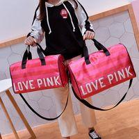 Wholesale Love Pink Large - Fashion Pink Letter Handbags Secret Shoulder Bags Women Love Large Capacity Travel Duffle Striped Waterproof Beach Bag Shoulder Bag F304