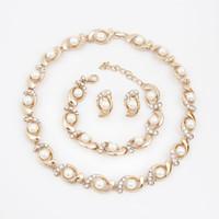 saphir-schmuck-sets verkauf großhandel-Großhandels-Qualitäts-Halsketten-Ohrring-Sätze 18k Gold überzogene freie Kristallperlen-Partei-Geschenke Klassische nachgemachte Perlen-Schmucksachen