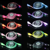 smiling face led flash with best reviews - 1m 3ft LED Light Micro USB V8 Retractable Cable Visible Smile Face Flashing Flat Noodle Data Charger Cables Cord Line For Samsung HTC