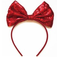 Wholesale Felt Hair Bands - Baby Red Bows hair sticks glitter felt sequins mickey hair bands chirstmas party princess hair accessoires christmas children gift R0705