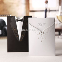 Wholesale Invitation Card Dress - 2015 New Real 50sets Couple Dress Laser Cut Wedding Invitations Cards+Envelopes Seals Marriage Party Engagement Gatefold Invites