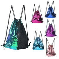 8 cores Mermaid Sequin Backpack Sequins Drawstring Bags Reversível Paillette Mochila ao ar livre Glitter Sports Ombro Bags CCA7890 100pcs