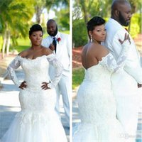 Wholesale Long Backless Mermaid Wedding Dresses - Beaded Lace Long Sleeve Mermaid African Plus Size Wedding Dresses 2016 Sexy Off the Shoulder White Tulle Backless Bridal Gowns Custom Made