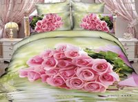 Wholesale Pillow Shams Roses - Romantic rose cotton queen bedding sets love reversible duvet cover flat sheet pillow shams 4 5pc bed in a bag