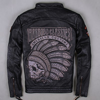 Wholesale Skeletons Motorcycles - 2015 New arrival Motorcycle Men's leather jacket black Indian chief skeleton embroidery head motorcycle jacket collar men flight coat