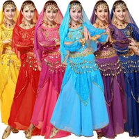 Wholesale Sexy Dance Set Wear - 4pcs Sets Sexy India Egyptian Queen Belly Dance Costumes Bollywood Costumes Indian Dress Bellydance Wear Dress Womens Belly Dancing Costume