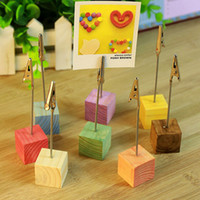 Wholesale Wire Cubes - 2.5*12cm Wood Cube Stand Alligator Wire Desk Card Note Picture Memo Photo Clip Holder Party Table Decoration ZA5526