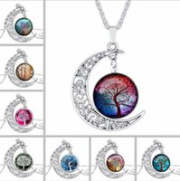 Wholesale tree life pendant gold for sale - Group buy DHL Tree of Life Galaxy Constellation Zodiac Sign Glass Cabochon Necklace Ancient Silver Crescent Moon Pendant Jewlery Women Christmas Gift