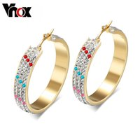 Wholesale Big Crystal Rock - Rock Crystal Hoop Earrings for Women Jewelry High Quality Stainless Steel Gold Color Big Earrings Jewelry Vnox EH-147 Wholesale Christmas pa