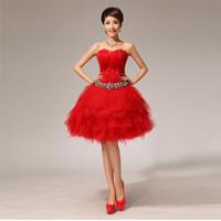 damas de honor vestidos de plumas al por mayor-Fiesta de la noche de Shanghai, vestidos elegantes vestidos fuera del hombro vestido corto de encaje Vestido de fiesta Vestido de dama de honor