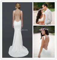 Wholesale Backless Lacy Dresses - Wholesale - Sexy Backless Beach Wedding Dresses 2014 Spaghetti Straps Draped Neckline Lacy Open Back Wedding and Summer Wed