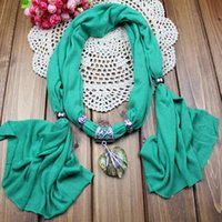 Wholesale Cross Charm Scarves - pendant scarf jewelry with beads Mixed Design & color 50pcs scarves charms cross necklace WY101