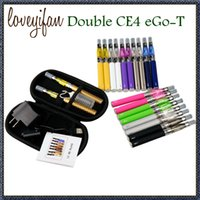Double eGo T CE4 Atomizer Double Starter kit E-cig 2 Clearomizer 2 batterie 650mah 900mah 1100mah Cigarette électronique coloré zipper case