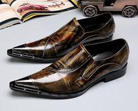 ingrosso marrone scarpe formali nuove-2019 New Luxury Retro punta in metallo marrone giallo scarpe in pelle Appartamenti Matrimonio Abito Homecoming Prom Formal scarpe plus size 45-46 gg45