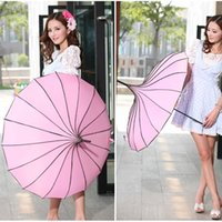 Wholesale pagoda rain parasol resale online - Elegant Pagoda Style Umbrella Windproof Rain Parasol Girls Summer UV Protection Accesories H206