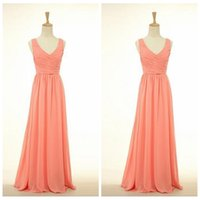 Wholesale Images Long Summer Dresses - Real Image V-Neck Chiffon Sweep Train Long Water Melon Bridesmaid Dresses A-Line Summer Ladies Dress For Wedding Party Gowns 2016 Cheap