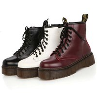 Wholesale Toe Punk - High quality platform autumn and winter add cotton warm motorcycle boots martin boots women's punk ankle boots size 35-40