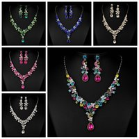 Wholesale Green Bridal Jewelry Sets - Amazing Crystal Beaded Bridal Accessories Necklace And Earrings Sets Accessories Bridal Jewelry Colorful For Women Wedding Prom Party Decor