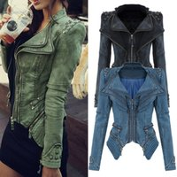 Wholesale Rivet Jeans Jacket - Wholesale-Original Quality Women's Sharp Power Punk Studded Shoulder Rivets Motorcycle Notched Lapel Denim Jeans Tuxedo Coat Jacket