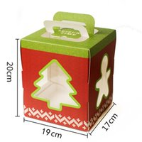 Wholesale Wedding Cake Boxes Red - 6 inch Christmas Tree House Decoration Cake Candy Chocolate Box Gingerbread House Cookie Wedding Favors Boxes