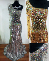 Wholesale One Sleeve Dress Sequin - 2015 New Hot Mermaid Evening Dresses Delicate Crystal Sequins One Shoulder Sweep Train Long Sleeve Good Quality Tulle Y1