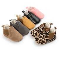 Wholesale baby leopard winter boots for sale - Group buy Hot sale Newborn Baby snow Boots winter keep warm Leopard PU leather Baby Moccasins rubber bottom fashion baby shoes